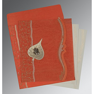 Orange Wooly Embossed Wedding Card : AC-8210F - IndianWeddingCards