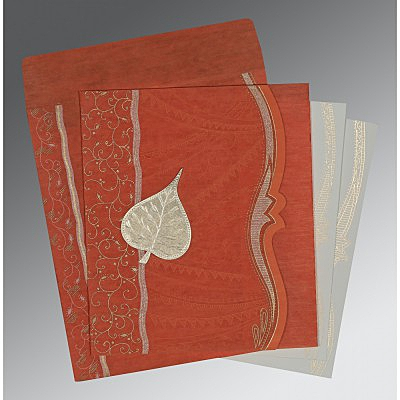 Orange Wooly Embossed Wedding Card : AD-8210D - IndianWeddingCards