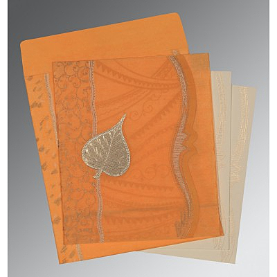 Orange Wooly Embossed Wedding Card : AD-8210L - IndianWeddingCards