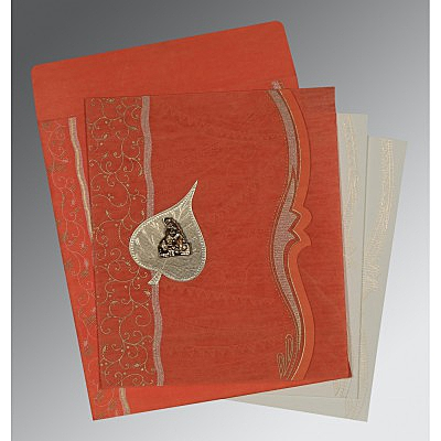 Orange Wooly Embossed Wedding Card : AG-8210F - A2zWeddingCards