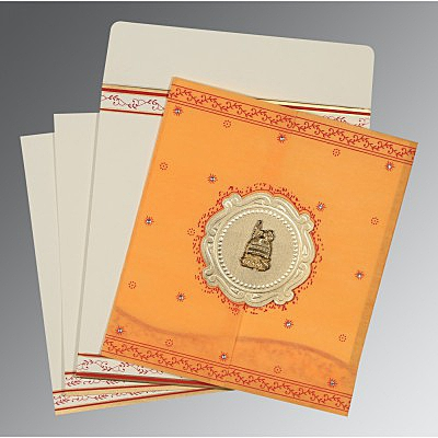 Orange Wooly Embossed Wedding Invitations : AI-8202B - A2zWeddingCards