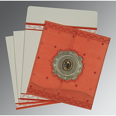 Orange Wooly Embossed Wedding Invitation : ARU-8202N - IndianWeddingCards