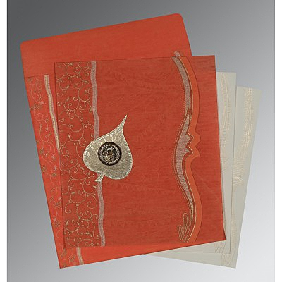 Orange Wooly Embossed Wedding Card : ARU-8210F - A2zWeddingCards