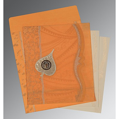 Orange Wooly Embossed Wedding Card : ARU-8210L - IndianWeddingCards