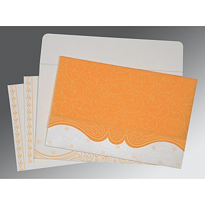 Orange Wooly Embossed Wedding Invitation : ARU-8221F - IndianWeddingCards