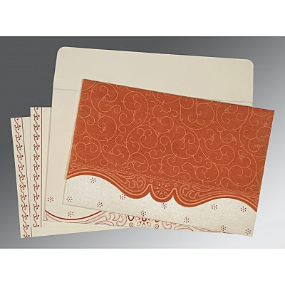Orange Wooly Embossed Wedding Invitation : ARU-8221O - IndianWeddingCards