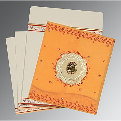 Orange Wooly Embossed Wedding Invitation : AS-8202B - IndianWeddingCards