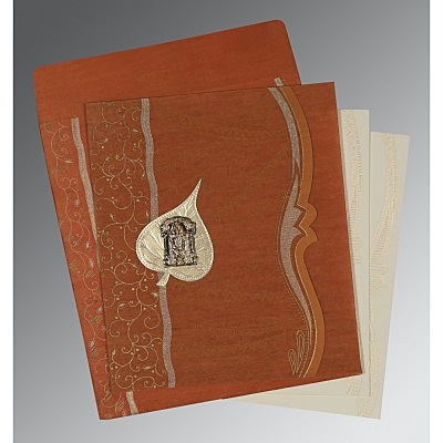 Orange Wooly Embossed Wedding Card : ASO-8210D - IndianWeddingCards