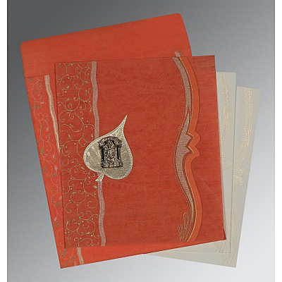 Orange Wooly Embossed Wedding Card : ASO-8210F - IndianWeddingCards