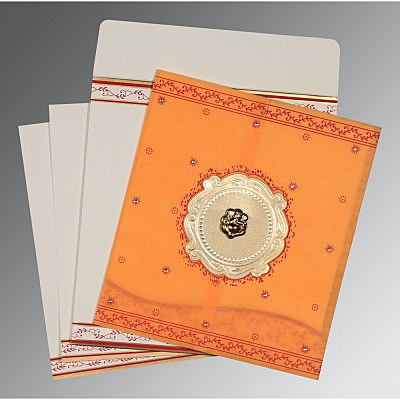 Orange Wooly Embossed Wedding Invitation : AW-8202B - IndianWeddingCards