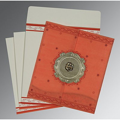 Orange Wooly Embossed Wedding Invitation : AW-8202N - IndianWeddingCards