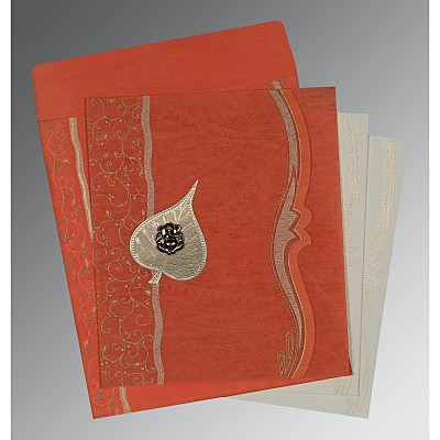 Orange Wooly Embossed Wedding Card : AW-8210F - IndianWeddingCards
