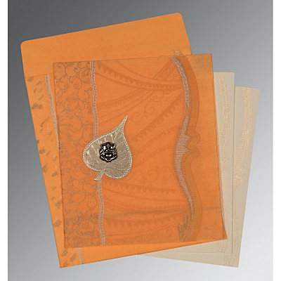 Orange Wooly Embossed Wedding Card : AW-8210L - IndianWeddingCards