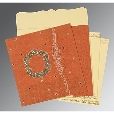 Orange Wooly Floral Themed - Embossed Wedding Card : AD-8209D - IndianWeddingCards