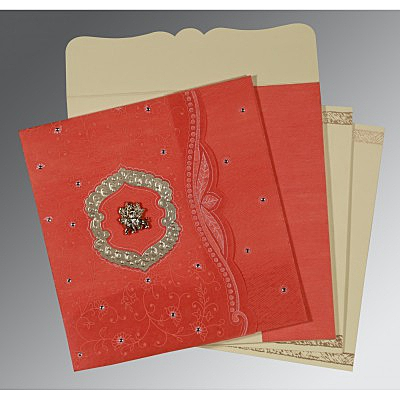 Orange Wooly Floral Themed - Embossed Wedding Card : AG-8209M - IndianWeddingCards