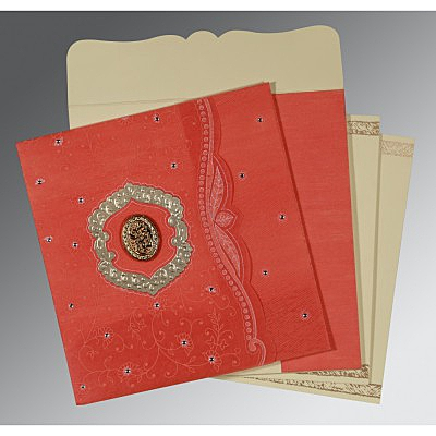 Orange Wooly Floral Themed - Embossed Wedding Card : AI-8209M - IndianWeddingCards