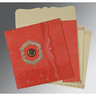 Orange Wooly Floral Themed - Embossed Wedding Card : ARU-8209M - IndianWeddingCards