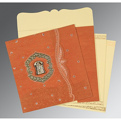 Orange Wooly Floral Themed - Embossed Wedding Card : ASO-8209D - IndianWeddingCards