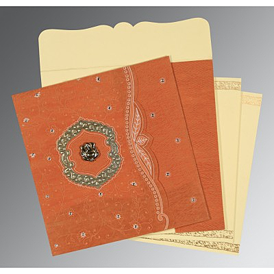Orange Wooly Floral Themed - Embossed Wedding Card : AW-8209D - IndianWeddingCards