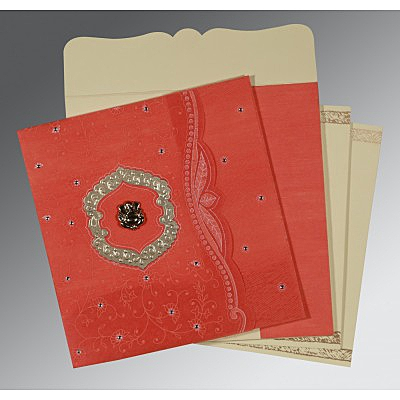 Orange Wooly Floral Themed - Embossed Wedding Card : AW-8209M - IndianWeddingCards