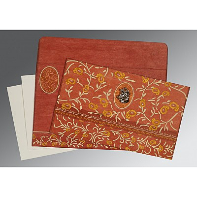 Orange Wooly Floral Themed - Glitter Wedding Card : AC-8206G - IndianWeddingCards