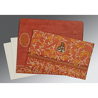 Orange Wooly Floral Themed - Glitter Wedding Card : AG-8206G - IndianWeddingCards