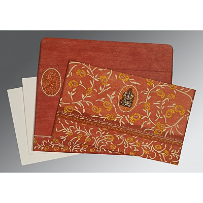 Orange Wooly Floral Themed - Glitter Wedding Card : AIN-8206G - IndianWeddingCards