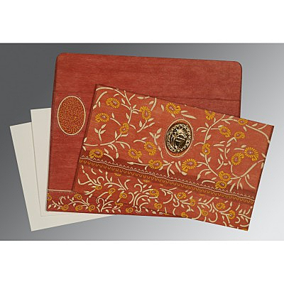 Orange Wooly Floral Themed - Glitter Wedding Card : AS-8206G - IndianWeddingCards