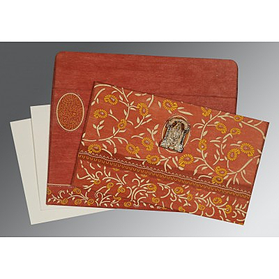 Orange Wooly Floral Themed - Glitter Wedding Card : ASO-8206G - IndianWeddingCards
