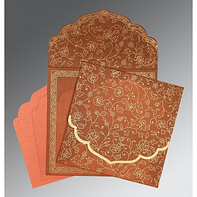 Orange Wooly Floral Themed - Screen Printed Wedding Invitation : AD-8211H - IndianWeddingCards