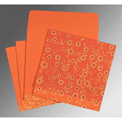 Orange Wooly Floral Themed - Screen Printed Wedding Card : AG-8222L - IndianWeddingCards