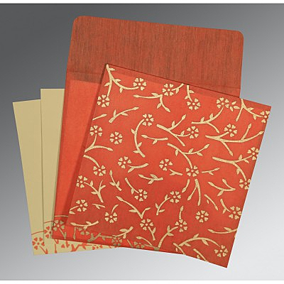 Orange Wooly Floral Themed - Screen Printed Wedding Invitation : AI-8216G - IndianWeddingCards
