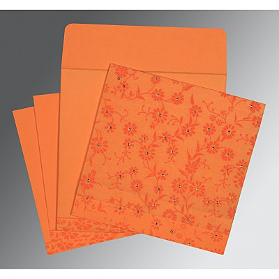 Orange Wooly Floral Themed - Screen Printed Wedding Card : AW-8222C - IndianWeddingCards