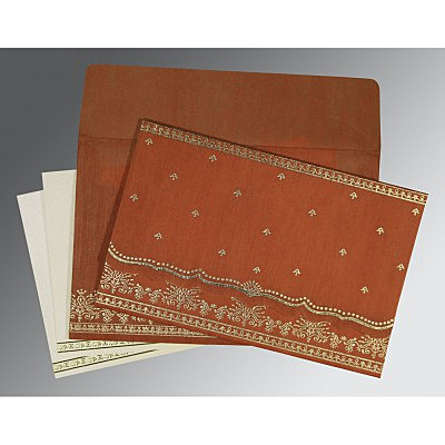 Orange Wooly Foil Stamped Wedding Invitation : AC-8241M - IndianWeddingCards