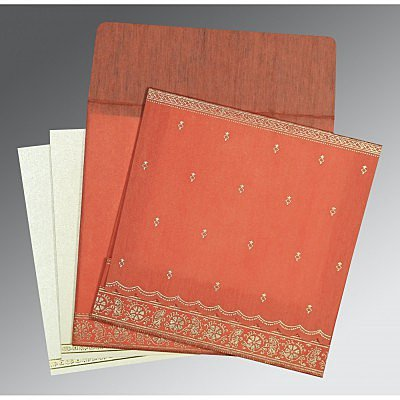 Orange Wooly Foil Stamped Wedding Card : AG-8242I - IndianWeddingCards