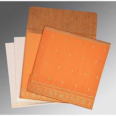 Orange Wooly Foil Stamped Wedding Card : AG-8242Q - IndianWeddingCards