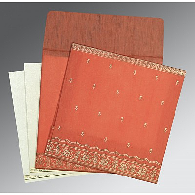 Orange Wooly Foil Stamped Wedding Card : AIN-8242I - IndianWeddingCards