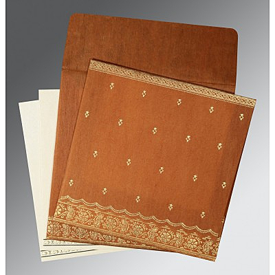 Orange Wooly Foil Stamped Wedding Card : ARU-8242E - IndianWeddingCards