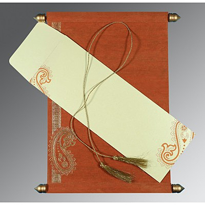 Orange Wooly Foil Stamped Wedding Card : ASC-5015K - IndianWeddingCards