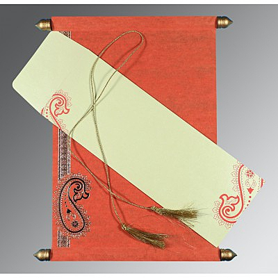 Orange Wooly Foil Stamped Wedding Card : ASC-5015L - IndianWeddingCards
