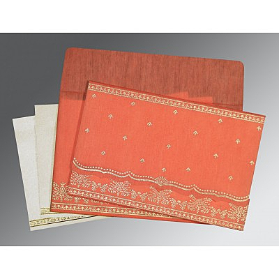 Orange Wooly Foil Stamped Wedding Invitation : AW-8241K - IndianWeddingCards