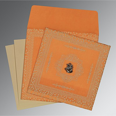 Orange Wooly Glitter Wedding Card : AC-8205H - A2zWeddingCards