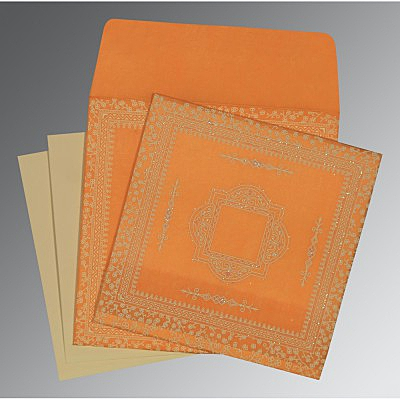 Orange Wooly Glitter Wedding Card : AD-8205H - IndianWeddingCards