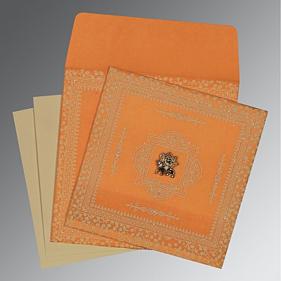 Orange Wooly Glitter Wedding Card : AG-8205H - IndianWeddingCards