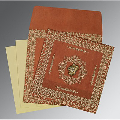 Orange Wooly Glitter Wedding Card : AI-8205C - IndianWeddingCards