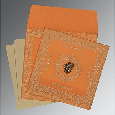 Orange Wooly Glitter Wedding Card : AI-8205H - IndianWeddingCards