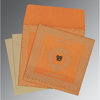 Orange Wooly Glitter Wedding Card : ARU-8205H - IndianWeddingCards