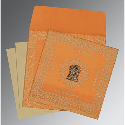 Orange Wooly Glitter Wedding Card : ASO-8205H - IndianWeddingCards