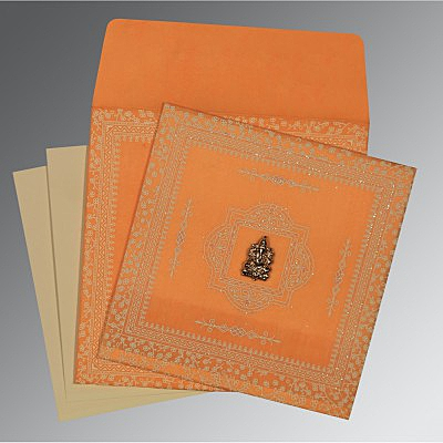 Orange Wooly Glitter Wedding Card : AW-8205H - IndianWeddingCards