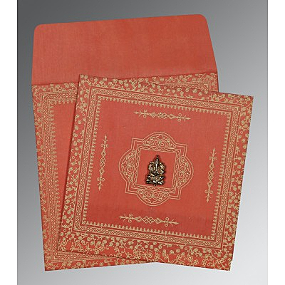 Orange Wooly Glitter Wedding Card : AW-8205M - IndianWeddingCards